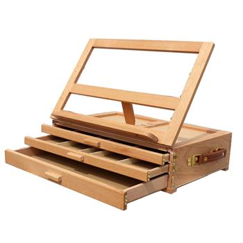 XHH-3 Portable 3 Layers Drawer 4 Adjustable Gears Beech Tabletop Easel Burlywood