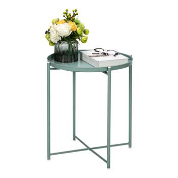 Artisasset Round Metal Countertop And Cross Base Wrought Iron Living Room Side Table Green