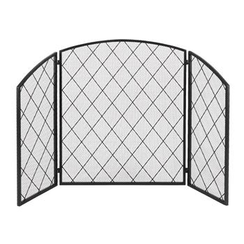 Tri-Fold Arc Top Thin Line Diamond Grid Decorative Iron Fireplace Screen 128*77 Unfolded Size