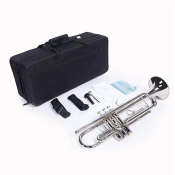 Glarry Brass Trumpet Bb with 7C Mouthpiece for Standard Student or Beginner Silver