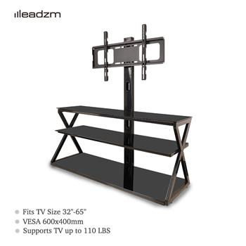 "Leadzm TSG001 32-65"" Corner Floor TV Stand with Swivel Bracket 3-Tier Tempered Glass Shelves"
