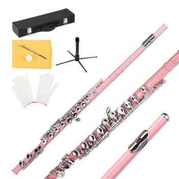 Glarry 16 Keys C Cupronickel Flute Closed Hole Separated E Key for Student Beginners Pink
