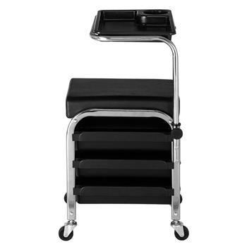 Mobile Nail Pedicure Beauty Salon Trolley Chair Stool Black