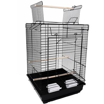 "23"" Bird Cage Pet Supplies Metal Cage with Open Play Top with tow Additional Toys Black"