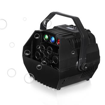 LED Automatic Bubble Machine Wireless Remote Control for Outdoor/Indoor Use with 2 Speed Levels Powered by Plug-in or Batteries Black