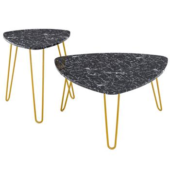 [84 x 83 x 46]cm Marble Iron Foot Coffee Table Side Table Set of 2 Black