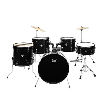 """Glarry Full Size Adult Drum Set 5-Piece Black with Bass Drum, two Tom Drum, Snare Drum, Floor Tom, 16"""" Ride Cymbal, 14"""" Hi-hat Cymbals, Stool, Drum Pe"""