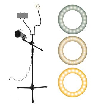 "3.5"" Selfie Ring Light with Tripod Stand & Cell Phone Holder & Mic stand & Pop Filter for Live Stream / Makeup Compatible with iPhone and Android Smar"