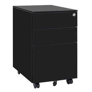 39cm Wide Three-Drawer Side Pull Movable Cabinet Black