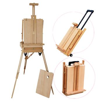 SFHX-3E Red Beech Portable Rolling Sketch Box Oil Painting Easel with Palette Wood Color