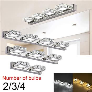 6W ZC001207 Double Lamp Crystal Surface Bathroom Bedroom Lamp Warm White Light Silver