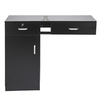 Wall-Mounted Hairdressing Cabinet 2 Drawers 2 Locks 1 Door 3 Hair Dryer Black