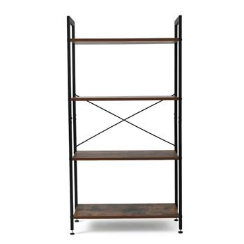 Bookshelf, 4-Tier Bookcase, Living Room Standing Unit Shelf, Stable Steel Frame, Bedroom, Office, Industrial Design, Rustic Brown