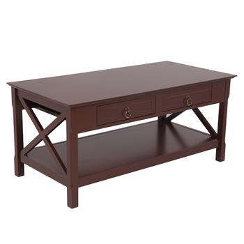 FCH Simple Two-Pull Solid Wood Coffee Table With Two Sides Crossed-Brown