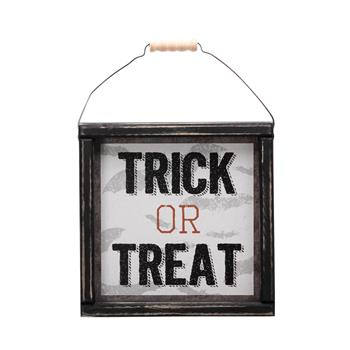 Artisasset TRICK OR TREAT Halloween Hanging Sign Holiday Wall Sign