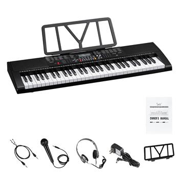 Glarry GEP-106 61 Key Portable Keyboard with  Built In Speakers, Headphone, Microphone, Music Rest, LCD Screen, USB Port & 3 Teaching Modes for Beginn