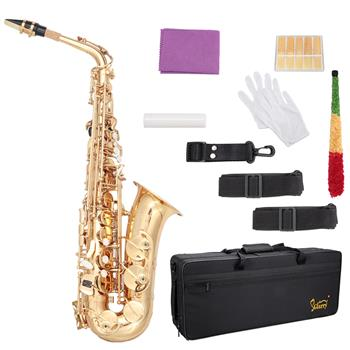 Glarry Alto Saxophone E-Flat Alto SAX Eb with 11reeds, case,carekit,Gold Color for Students and Beginners