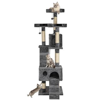 "66"" Sisal Hemp Cat Tree Tower Condo Furniture Scratch Post Pet House Play Kitten with Cozy Perches Grey"