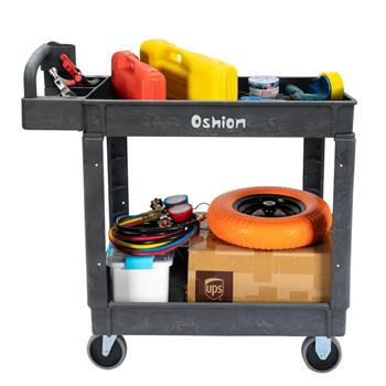 Commercial Products 2-Shelf Utility / Service Cart, Small, Lipped Shelves, Ergonomic Handle, 500 lbs. Capacity, for Warehouse / Garage / Cleaning/Manu