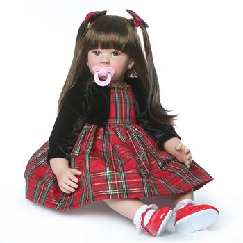 """24"""" Beautiful Simulation Baby Long-Haired Girl Wearing a Christmas Plaid Skirt Doll"""