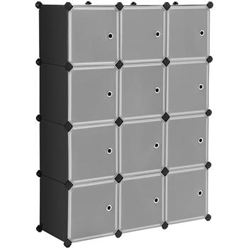 Cube Storage 12-Cube Closet Organizer Storage Shelves Cubes Organizer DIY Closet Cabinet with Doors White and Black Color