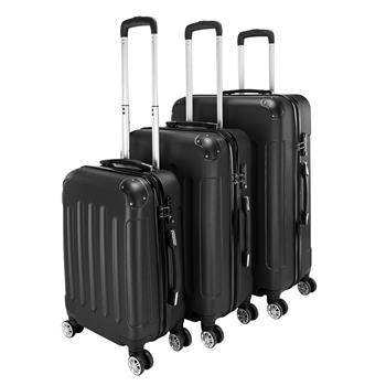 """3-in-1 Portable ABS Trolley Case 20"""" / 24"""" / 28"""" Black"""