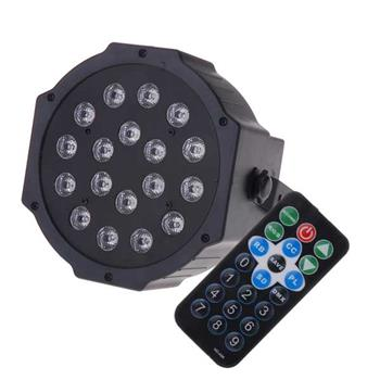 18-LED Red & Green & Blue Light Voice Control Parcan Projector Lamp with Remote Controller Black