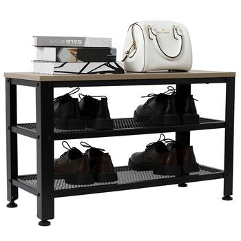 Industrial Shoe Bench, 3-Tier Shoe Rack, Storage Organizer with Seat for Entryway, Living Room, Hallway Gray Color
