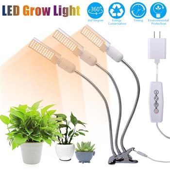 60W 5V Dimmable Three-head Flat Clip Corn Plant Light Full Spectrum Warm White 3000K 132LED Silver (Actual Power 20W)
