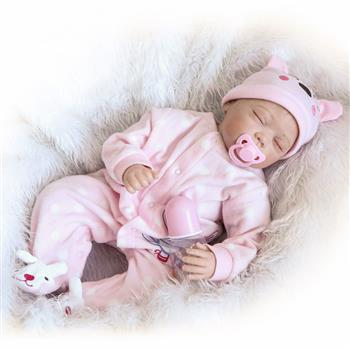 """Fashionable Lovely Play House Toy Simulation Baby Doll with Clothes Pink Size 22"""""""