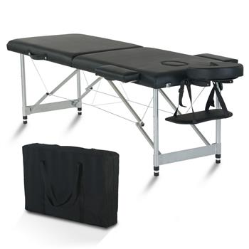 """84"""" 2 Sections Folding Portable Aluminum Foot Beauty Massage Bed 60CM Wide Adjustable Height Black"""