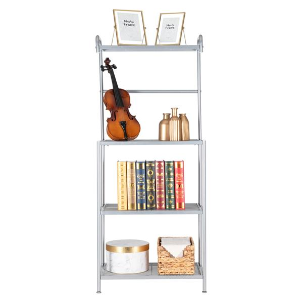 HODELY Silver Grey Four-Layer Wrought Iron Kitchen Shelf With Mesh Surface