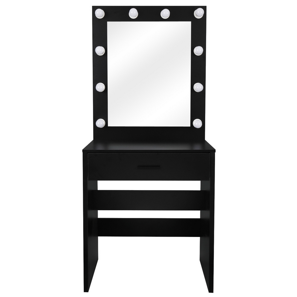 FCH With a Light Cannon Large Mirror Single Drawer Dressing Table Black