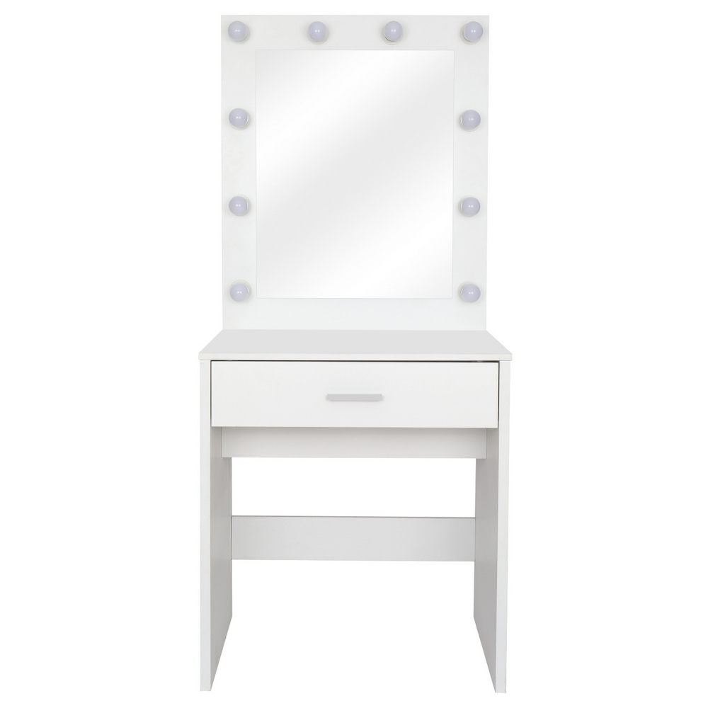 FCH Large-Mirror Single-Drawer Dressing Table With Light Cannon White