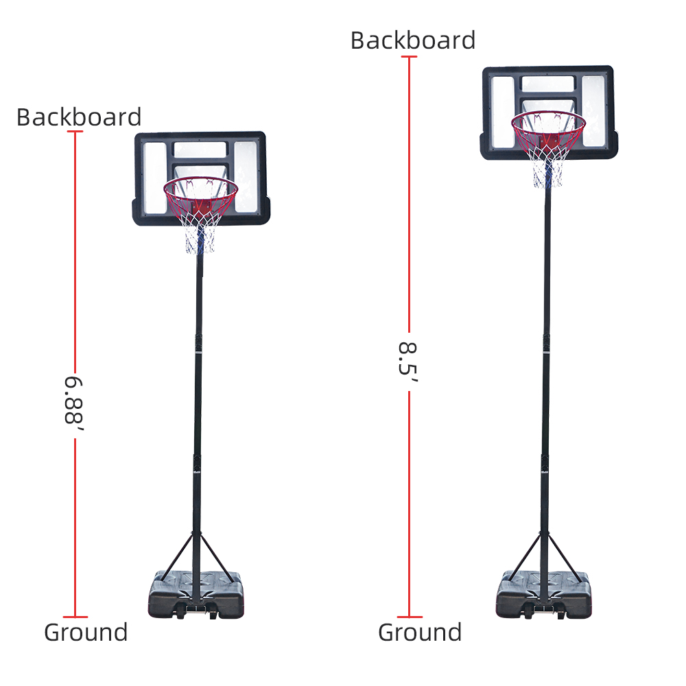 【HY】HY-B07S Portable Removable Basketball System Basketball Hoop Teenager PVC Transparent Backboard with 2.1m-2.6m Adjustable-Height Pole Maximum Appl