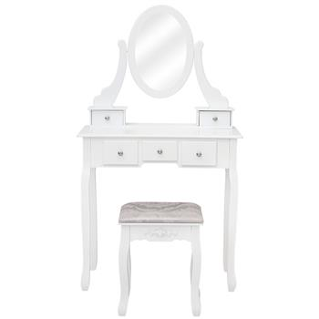 360° Rotation Single Mirror 5 Drawers Dressing Table White