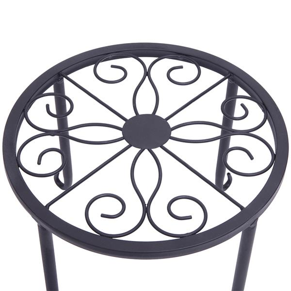 4 Plant Shelves with 4-1 Round Pattern in Black Baking Paint (Yh-Cj009)