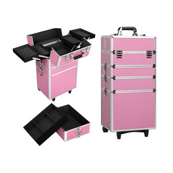 4-in-1 Draw-bar Style Interchangeable Aluminum Rolling Makeup Case Pink