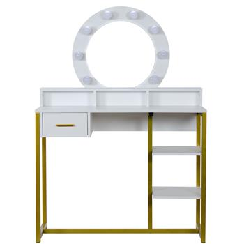 FCH Single Round Mirror, Single Drawer, Two-Layer Frame-Steel Frame Dressing Table White