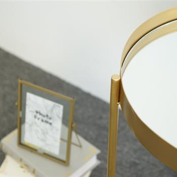 "19"" Round End table- Gold metal frame circle mirrorred end table for livingroom,bedroom"