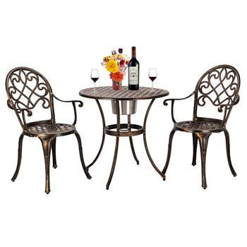 European Style Cast Aluminum Outdoor 3 Piece Patio Bistro Set of Table and Chairs with Ice Bucket Bronze