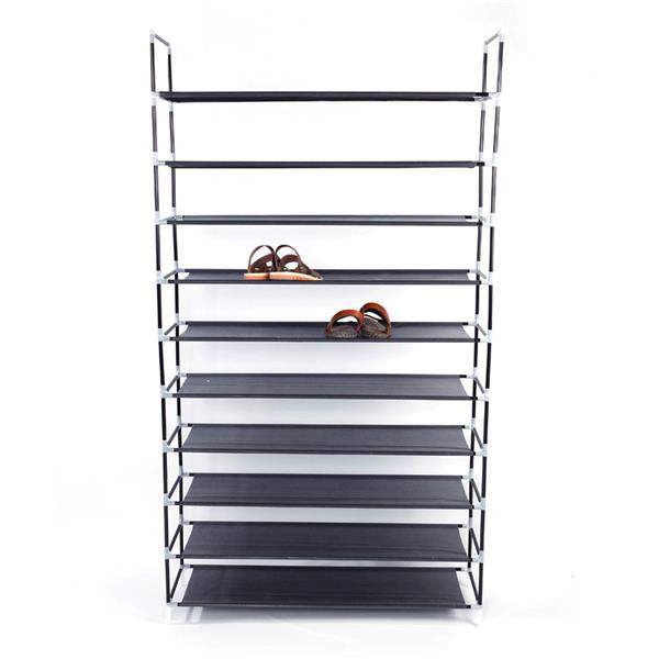 Simple Assembly 10 Tiers Non-woven Fabric Shoe Rack with Handle Black