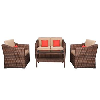 Wide Rattan Double Contiguous Rattan Four-Piece Suit 1 Double 2 Single 1 Double Coffee Table   Brown