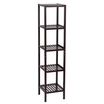 100% Bamboo Bathroom Shelf 5-Tier Multifunctional Storage Rack Shelving Unit 146*33*33cm Dark Brown