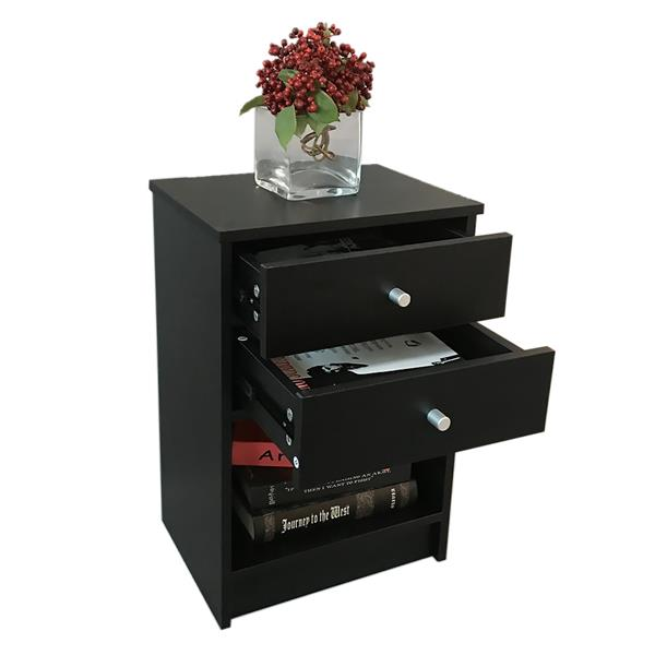 40 x 30 x 60cm Round Handle Night Stand with Two Drawer Black