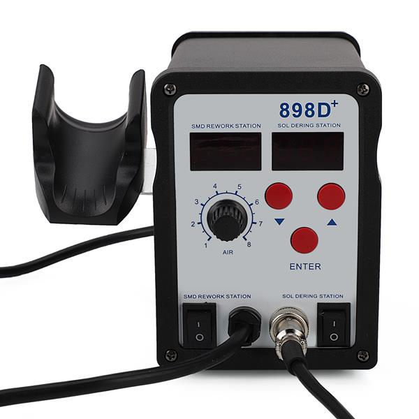 898D  2 in 1 Soldering Station and Hot Air Gun Digital Display Adjustable Soldering Station with 11pcs Solder Tips & 1pc Solder Wick & 1pc IC Extractor US Plug Black