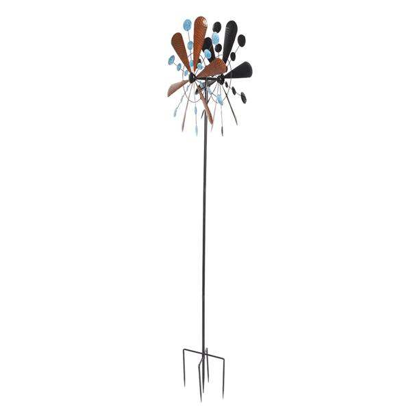 Wrought Iron Windmill Copper Leaf Blue Dots