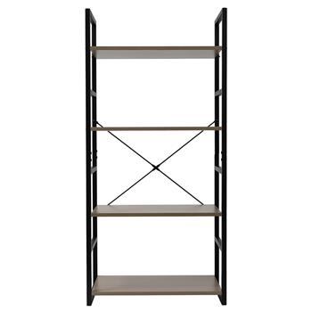 4 Tier Bookcase Shelf Storage Organizer Wood and Metal Bookshelf Rack Gray