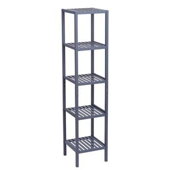 100% Bamboo Bathroom Shelf 5-Tier Multifunctional Storage Rack Shelving Unit 146*33*33cm Gray