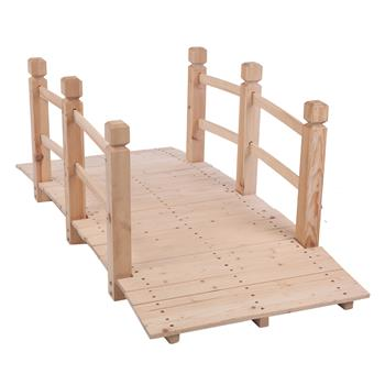 Arch Bridge Small Wooden Bridge Courtyard Outdoor Anticorrosive Wood Landscape Bridge Burlywood
